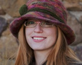 Brimmed Hat, Felted Peruvian Hand Dyed Wool in Pinks and Greens, with Brown Jasper Accent