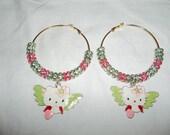 New 2012 SPRING hello kitty glam bling women colorblock pink green dangle basketball wives earrings aka alpha kappa alpha