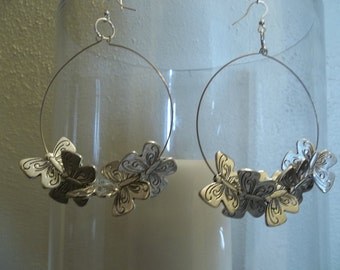 Big unique haute statement flying butterfly butterflies women Basketball Wives love and hip hop glamorous diva silver hoop dangle earrings