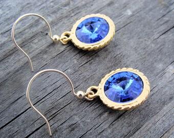 Blue Sapphire Swarovski Rivoli Style Earring In Terracast Nautical Rope Gold- great something blue, wedding, bridesmaid gifts
