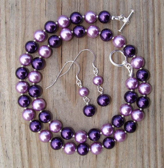 Punch of Purple Pearls Necklace and Earrings Set- Clemson jewelry, wedding, bridesmaids, bride, and purple lovers