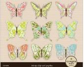 Butterfly clip art, Shabby Chic illustration scrapbooking DIY invitation