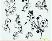 Flower Flourish Swirl Decorative clip art digital illustration for DIY invitation