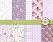Digital Paper pack purple garden flower for scrapbooking DIY wedding invitation