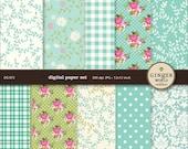 Turquoise Flower Garden Digital Paper for scrapbooking DIY invitation (DG073)