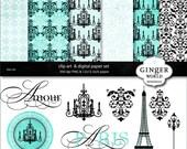 Paris Chic turquoise clip art Digital Paper illustration for scrapbooking invitation