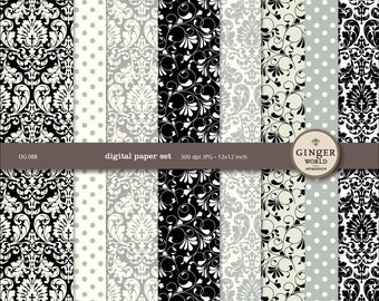 SALE - Digital Paper pack Silver Damask Black Tie for scrapbooking DIY invitation (DG088)