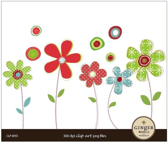 Cute Whimsy Flower Clip art Digital Illustration for scrapbooking DIY invitation (CLP0055)