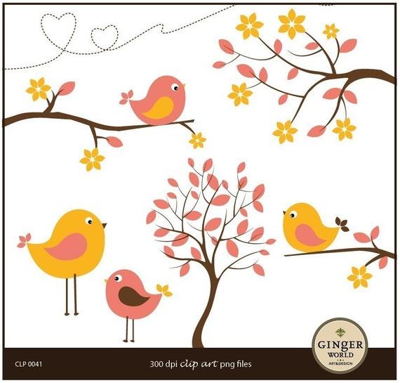 Orange Pink Blooming flower Bird clipart illustration