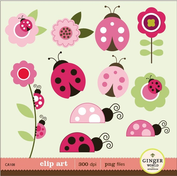 Ladybug clip art, pink ladybug clipart