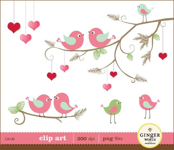 christmas bird in love clipart digital file illustration for scrapbooking, wedding invites (CA130)