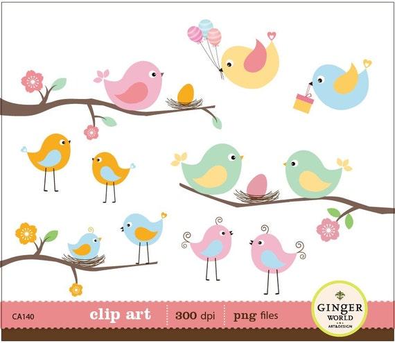 bird egg nest clipart, baby bird, bird family for scrapbooking, baby shower invitation