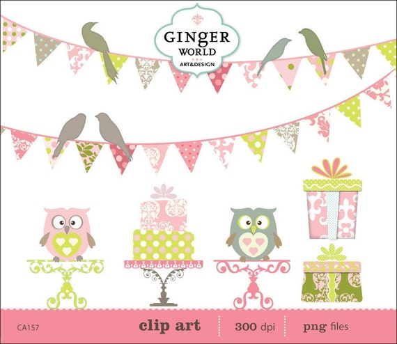 Party clipart , Banner Flags clipart,  gift box clip ar
