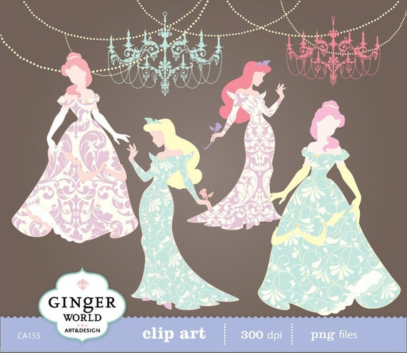 Princess Fairytale clipart digital file illustration for scrapbooking, DIY invites (CA155)