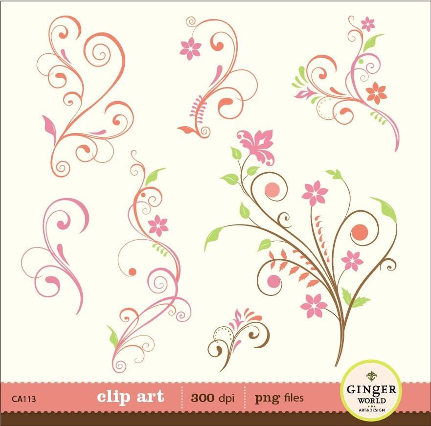Decorative Designs Clip Art Flower Flourish Swirl Decorative Clip Art Digital Illustration For Diy