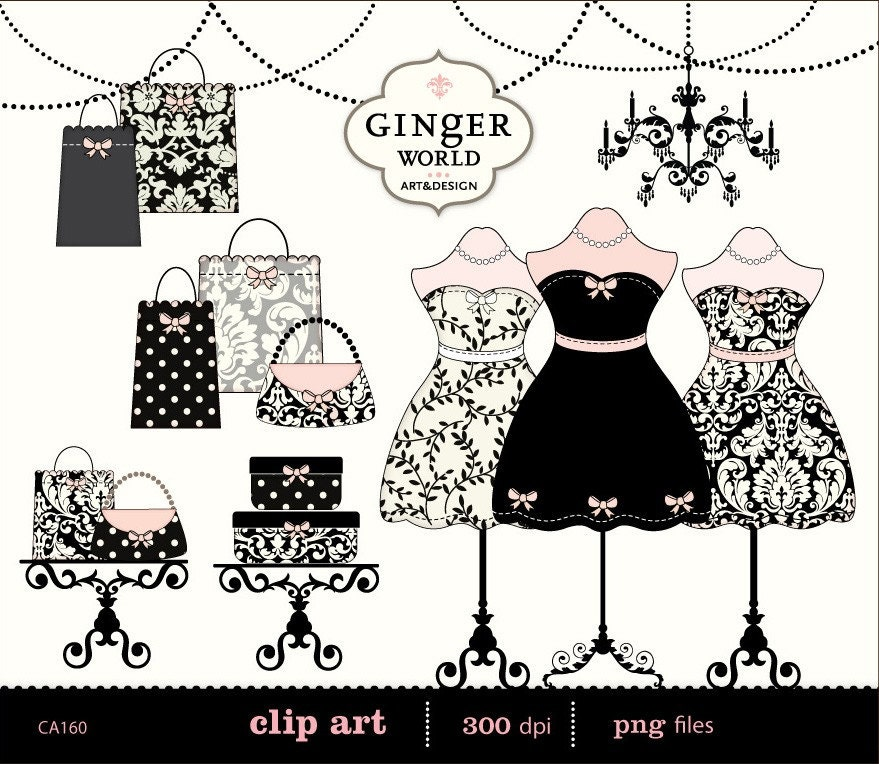 Fashion boutique dressing room shopping clip art digital - Scrapbooking paris boutique ...