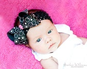 Perfect Infant Boutique Bow Starter set includes 3 bows of light pink, black and hot pink with coordinating crochet headbands