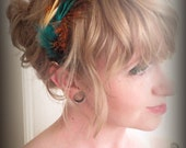 Blue and Brown Feather Fascinator
