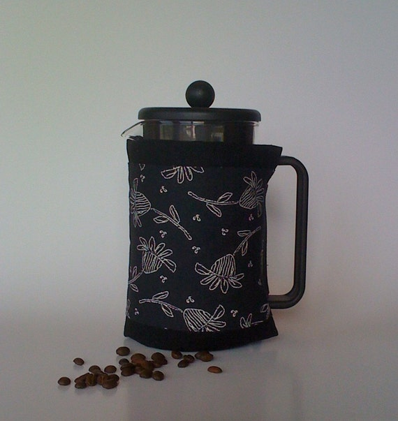 """French Press """"Bean Belt"""" Coffee Cozy - """"Authentic"""" - Flower"""