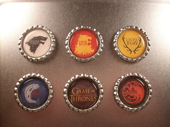 Game of Thrones Magnets - House Sigil Bottlecap Magnets Set of 6