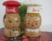 Vintage Salty and Peppy Wooden Shakers and 1968 Better Homes and Gardens Barbecue Book