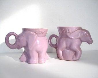 Frankoma Political Mugs Donkey and Elephant Mugs 1983