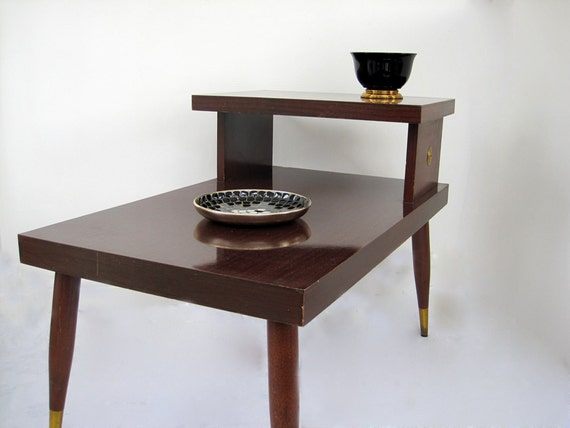 Mid Century End Side Table Tier Formica Brass Tips