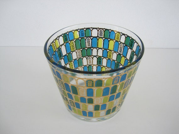 Vintage Glass Ice Bucket Blue Green Gold Stained Window Crown