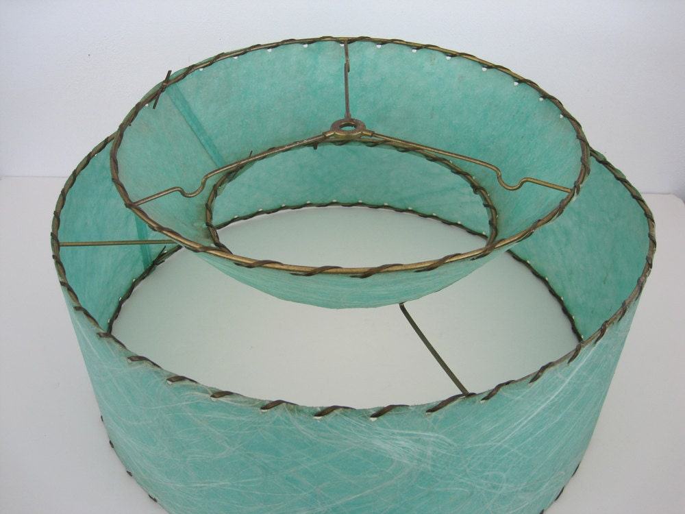 Fiberglass Lamp Shade Two Tier Mid Century 1950 Turquoise