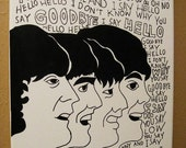 Hand Paint Black and White The Beatles Illustration on Canvas