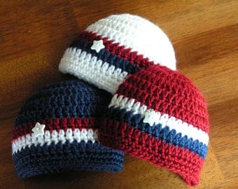 Stars Baby hat  for Newborn to 18 months July 4th Patriotic infant - Star Spangled Patriotic Cap  - Choose one
