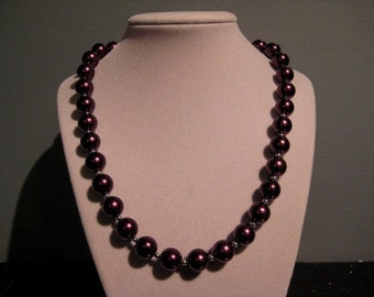 Eggplant purple pearl necklace