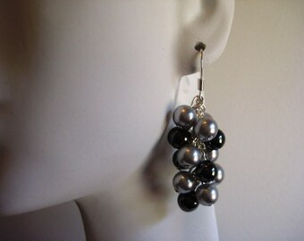Light Grey Pearl and Hematite Cascade Earrings