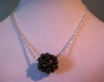 Chocolate Brown Pearl Cluster Necklace - Bridal Party Jewelry