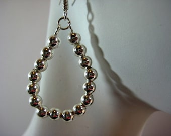 Silver Teardrop Hoop Earrings
