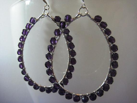 Deep Violet Silver Wire Wrapped Hoop Earrings