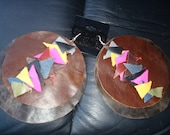 Multi Colorful Leather Earrings
