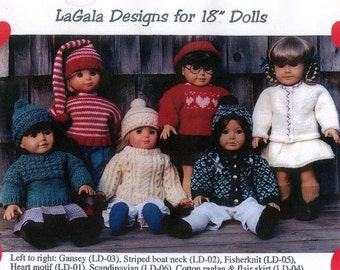 """5 Knitting Patterns for 18"""" Dolls or American Girl PDF Format"""