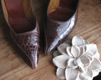 Vintage Authentic Alligator Leather High Heel Shoes Womens Size 6.5 Pumps Brown Excellent Condition Party Heels Exotic Unique Used
