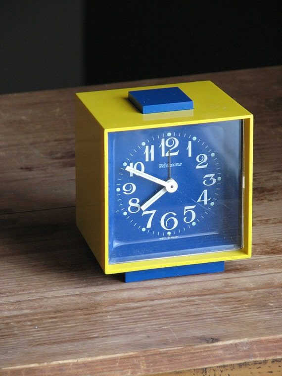 Vintage Wedgefield Windup Alarm Clock Blue And Yellow