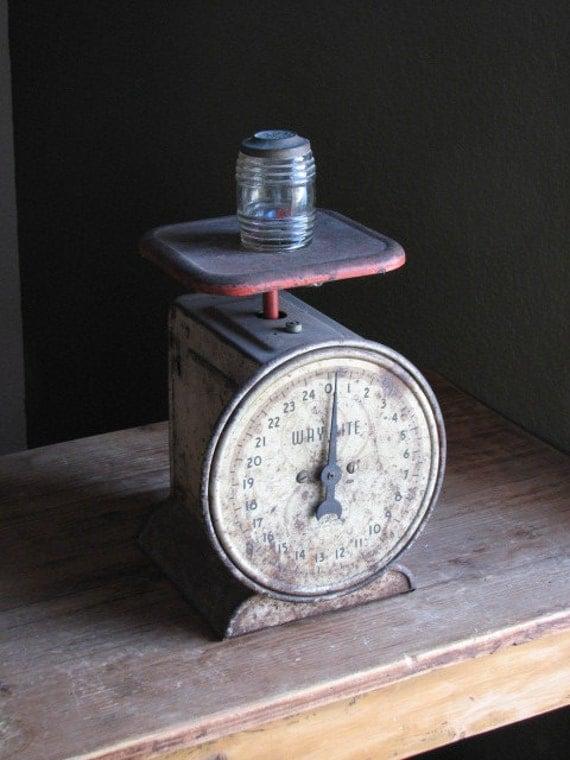 Hanson Antique Farm Scale - Red and Grey Way Rite - 25 lbs - Primitive Decor - Rusty Display