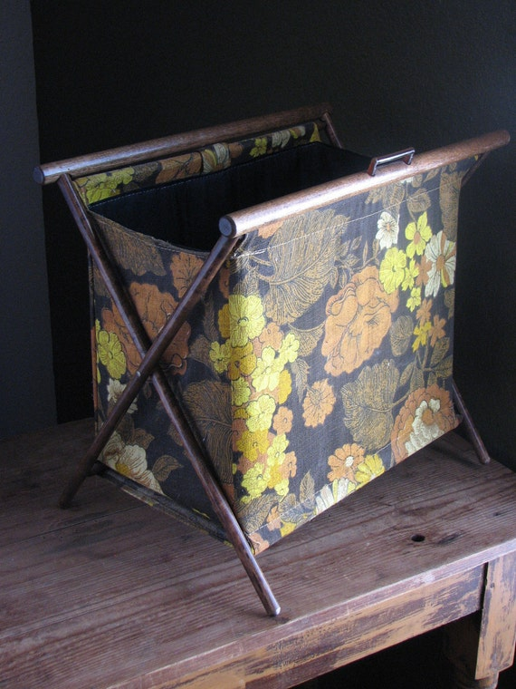 Vintage Folding Sewing Basket - Floral Fabric with Wood Frame - Orange, Brown and Yellow