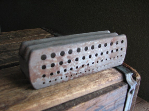 Collection of Drill Bit Holders and Guage - Vintage Desk Accessory Stand - Holes in Steel - Rusty Decor