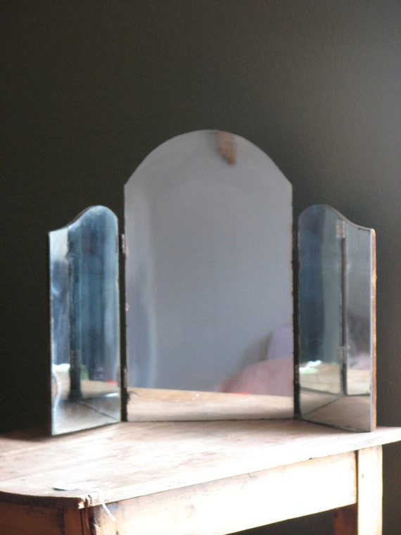 Tri Fold Antique Mirror with Curved Top Primitive Decor