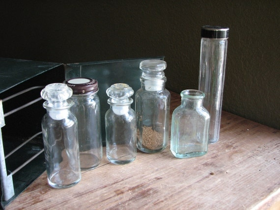 Collection of Small Glass Bottles - Spices Jars with Lids - Unique Kitchen Display - Craft Storage