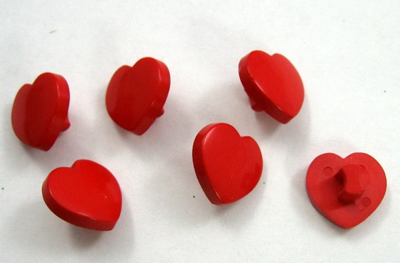 Red Heart Buttons Set of Six