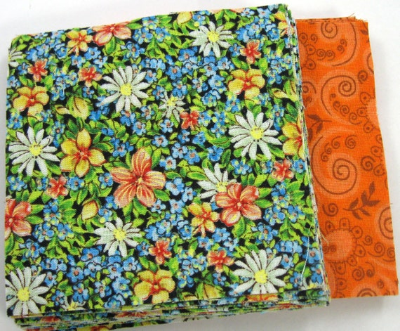 Blue and Orange Floral  40 - 4 inch Fabric Quilt  Squares