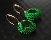 "Earrings GF Crochet With Green ""Bagel"""