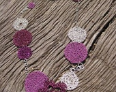 Necklaces Crochet Fuchsia Flower Silver Disks on Silver Chain