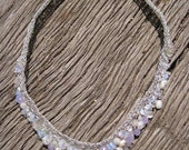 Nacklaces Crochet Blue (No Silver) with Pearl, Quartz, Glass and Moonstone